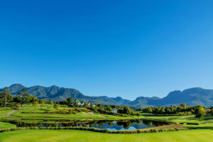 Mountain backdrop at Fancourt Resort, The Garden Route, South Africa