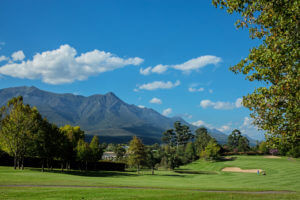 Overlooking the mountain range behind Fancourt Resort, The Garden Route, South Africa