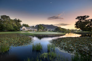 Overlooking the clubhouse and lake at Fancourt Resort, The Garden Route, South Africa