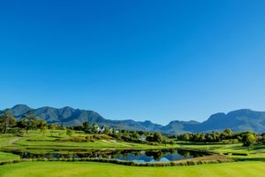 Overlooking the mountain range behind the Montagu Course at Fancourt Resort, The Garden Route, South Africa