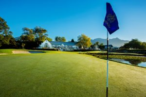 The Flag of the 18th on The Montagu Course, Fancourt Resort, The Garden Route, South Africa