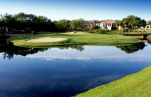 View of the island green on the 4th hole of the Ram Rock Course, Horseshoe Bay Resort, Texas