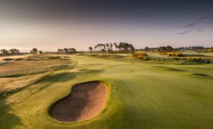 View of the 4th-hole green at Carnoustie Championship Golf Links, Scotland, United Kingdom