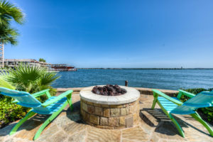 View of the waterfront and outdoor fireplace, Horseshoe Bay Resort, Texas