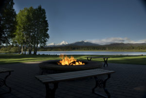 Image of a firepit on the lodge deck at Black Butte Ranch, Oregon, USA