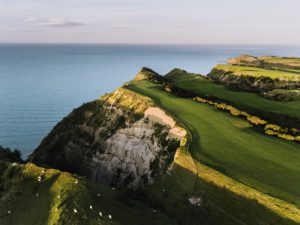 Aerial view at sunset over the golf course, Cape Kidnappers, Hawke's Bay, New Zealand