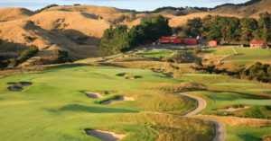 Looking up the fairway on the 2nd hole, Cape Kidnappers, Hawke's Bay, New Zealand