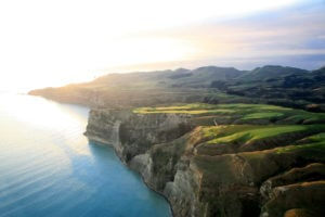 Aerial shot of the Golf Course at sunrise, Cape Kidnappers, Hawke's Bay, New Zealand