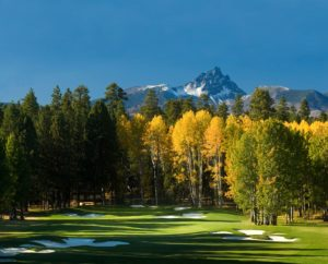 Image of tall trees surrounding the 14th green on the Big Meadow Golf Course at Black Butte Ranch, Oregon, USA