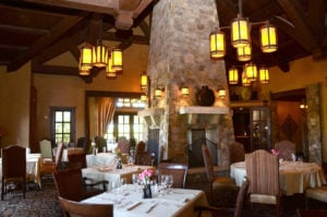 Image of lanterns above the Trailhead Restaurant at Pronghorn Golf Resort, Bend, Oregon, USA