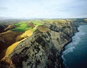 View of the cliffs and 16th hole at Cape Kidnappers, Hawke's Bay, New Zealand