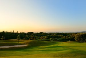 Sunset view of The Wales National Course, The Vale Resort, Wales