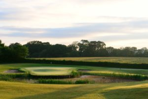 View of an island green, The Vale Resort, Wales