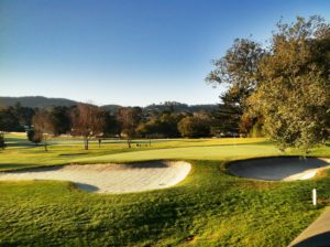 Image of the golf course at sunset, Del Monte Golf Course, Pebble Beach, Monterey, California
