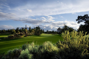 Overlooking a lush fairway on the Tom Fazio Championship Golf Course at Pronghorn Golf Resort, Bend, Oregon, USA