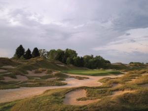 Image of The Irish Golf Course 6th green and surrounding bunkers, Destination Kohler, Wisconsin, USA