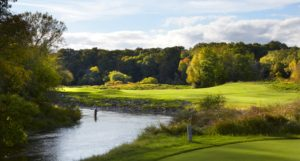 Image looking down the Sheboygan River on the 12th hole, Destination Kohler, Wisconsin, USA