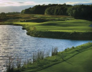 Image of a lake on the Meadow Valleys 8th hole,Destination Kohler, Wisconsin, USA