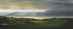 Landscape image of the 1st green at Whistling Straits