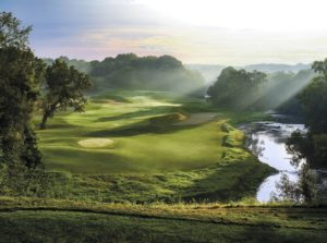 Image of a sunrise on the River Golf Course 5th hole at Destination Kohler, Wisconsin, USA